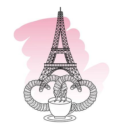 France paris landmark eiffel tower coffee cup and pretzels