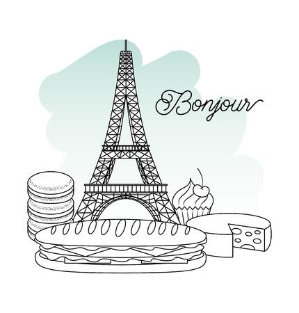 France paris architecture eiffel tower sandwich and cupcake bonjour Archivio Fotografico - 99340543