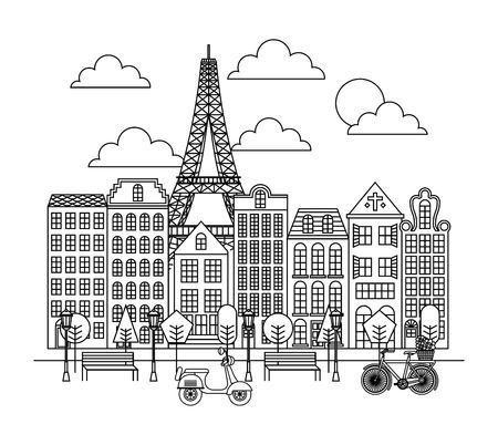 France paris architecture eiffel tower park town bike scooter