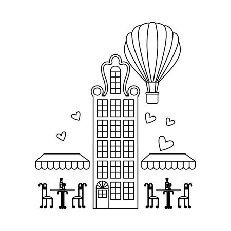 Architecture building with coffee shop and hot air balloon