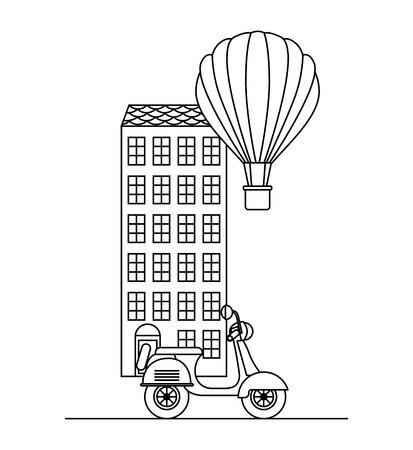 Architecture building with scooter and hot air balloon. Illustration
