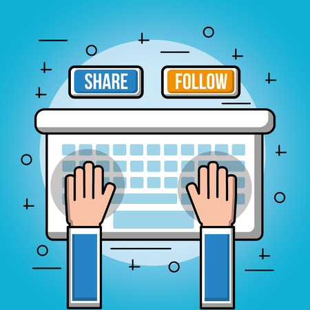 people social media two hands on a keyboard share follow networks blue background symbols vector illustration
