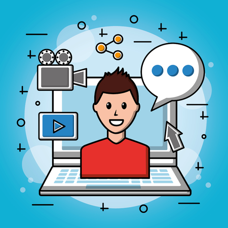 people social media boy with red shirt computer cinematographic camera tools vector illustration