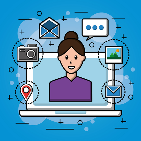 people social media computer with a woman many tools symbols background vector illustration