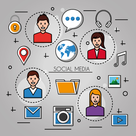 people social media bagde  with boys and girls location photos folder music headphones vector illustration Illusztráció