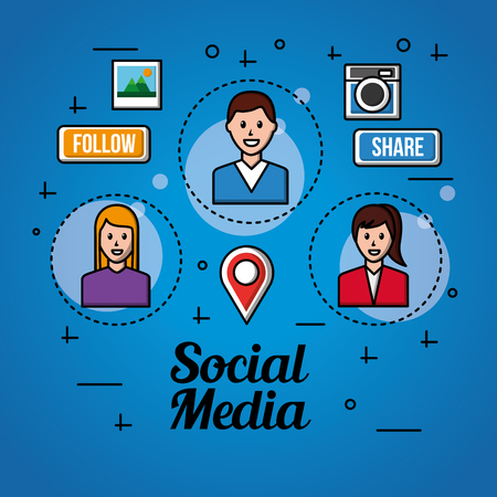 people social media boy and girls  follow share icons vector illustration