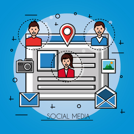 people social media document with photo girl boys share icons vector illustration