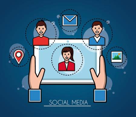 people social media hands catching a tablet in screen a girl boy in a sticker photo location vector illustration