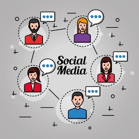 people social media connection with girls and boys text talking vector illustration Ilustração Vetorial