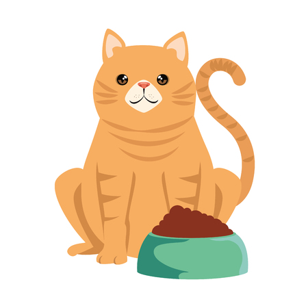 cute cat mascot with dish food character vector illustration design Çizim