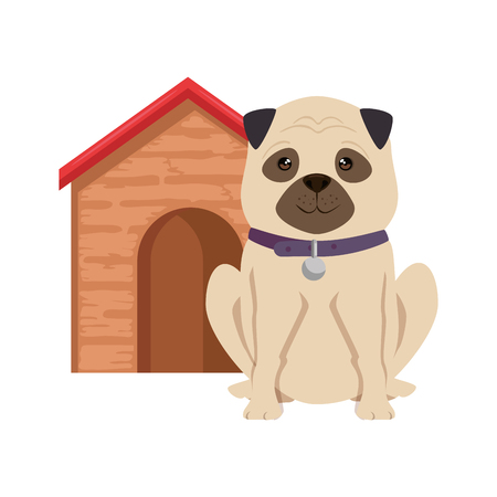 Cute dog with wooden house icon
