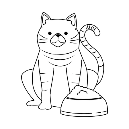 cute cat mascot with dish food character vector illustration design Vectores