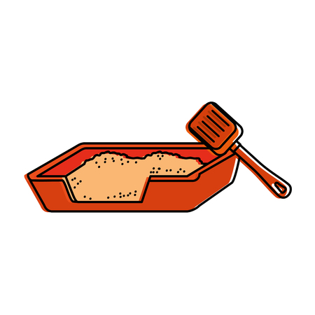 Cat sand box with shovel vector illustration design