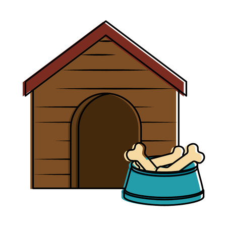 Wooden house pet with dish bones vector illustration design