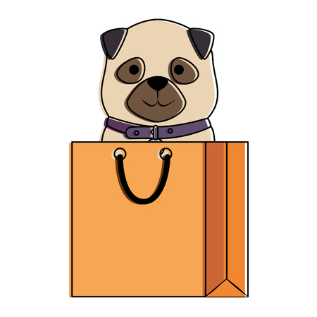 cute dog in shopping bag character vector illustration design Stock Vector - 99916209