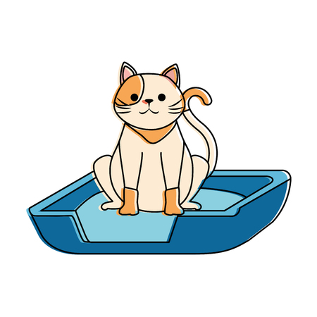 Cute cat mascot in the bed character vector illustration design