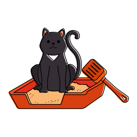 Cute cat mascot in the sand box character vector illustration design