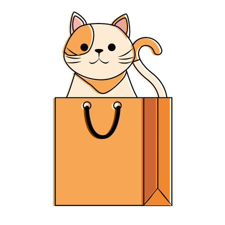 Cute cat mascot in shopping bag character vector illustration design Stock Vector - 99535991