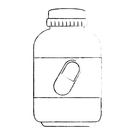 Capsules bottle drugs icon vector illustration design