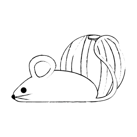 little mouse with ball vector illustration design