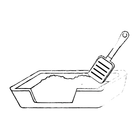 cat sand box with shovel vector illustration design Stock Vector - 99711194