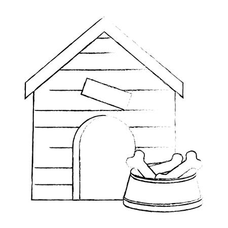 wooden house pet with dish bones vector illustration design