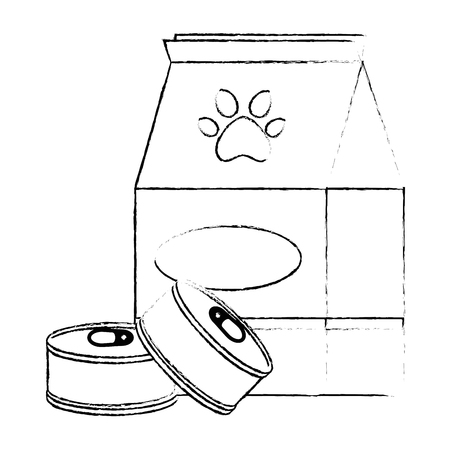 pet shop paper bag with tuna cans vector illustration design