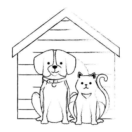 cute dog and cat with wooden house characters vector illustration design