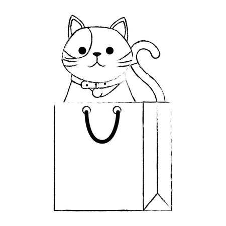 cute cat mascot in shopping bag character vector illustration design Stock Illustration - 99558995