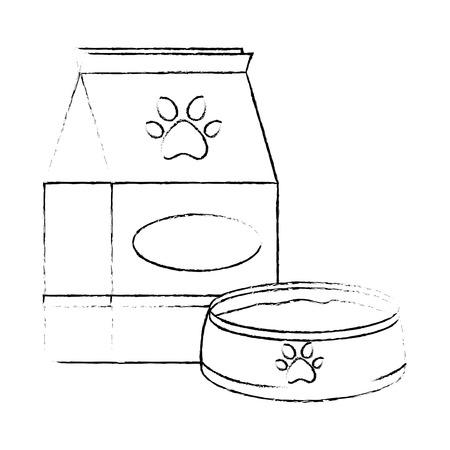pet shop paper bag with dish vector illustration design 스톡 콘텐츠