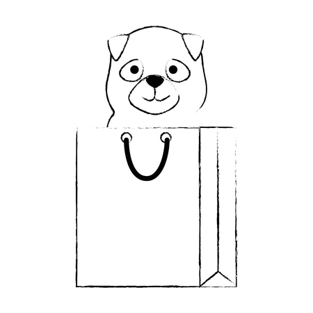 cute dog in shopping bag character vector illustration design Stock Photo