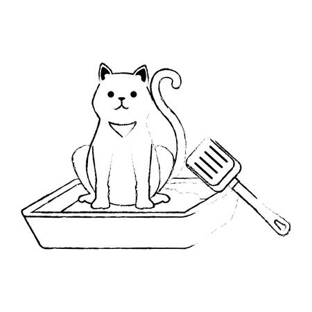 cute cat mascot in the sand box character vector illustration design 版權商用圖片