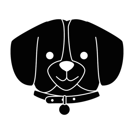 |A cute dog breed head character vector illustration design