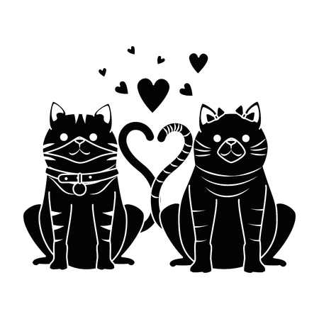 A cute couple cats mascots with hearts characters vector illustration design