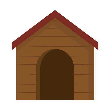 Ein hölzernes Haus Haustier Symbol Vektor-Illustration Design