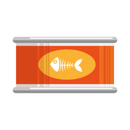 Tuna can with fish skeleton vector illustration design