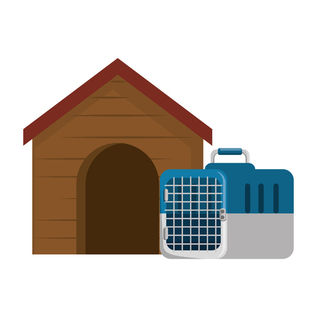 Wooden house pet with transport box vector illustration design