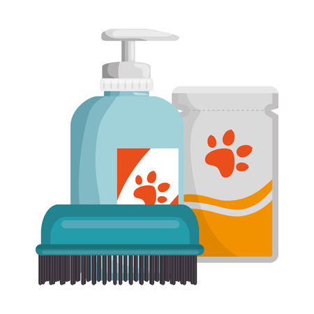 Set pet grooming products vector illustration design