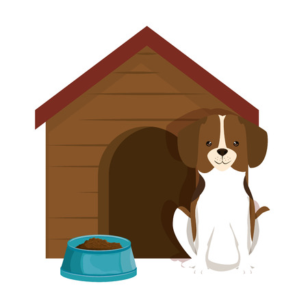 cute dog breed with wooden house and dish food vector illustration design