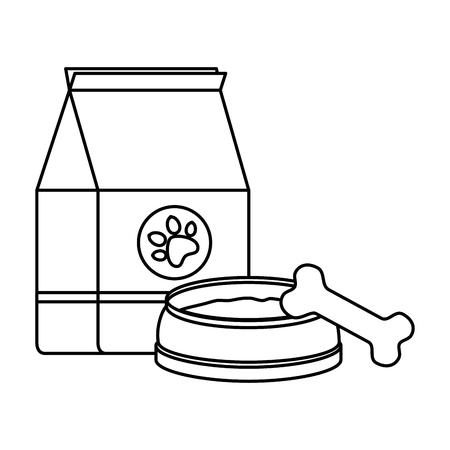 pet shop paper bag with dish and bone vector illustration design