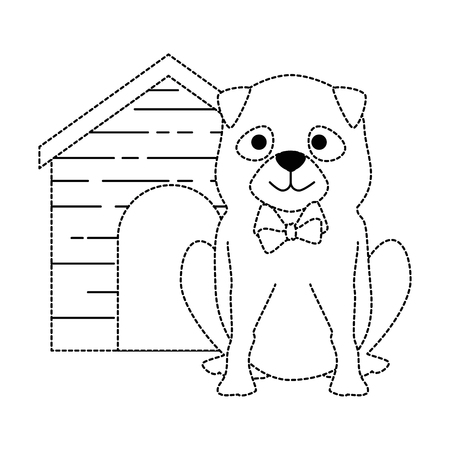 cute dog breed with wooden house character vector illustration design Stockfoto