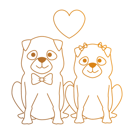 cute dogs couple lovers with hearts characters vector illustration design