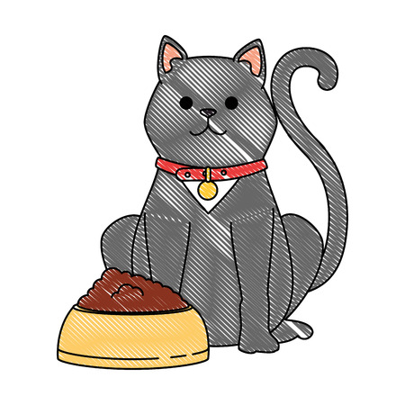 cute cat mascot with dish food character vector illustration design Stock Photo