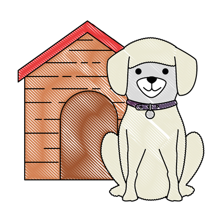 cute dog breed with wooden house character vector illustration design 版權商用圖片
