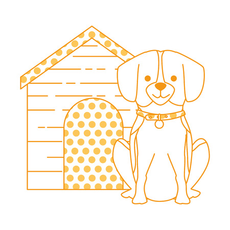 Cute dog breed with wooden house character vector illustration design Illustration
