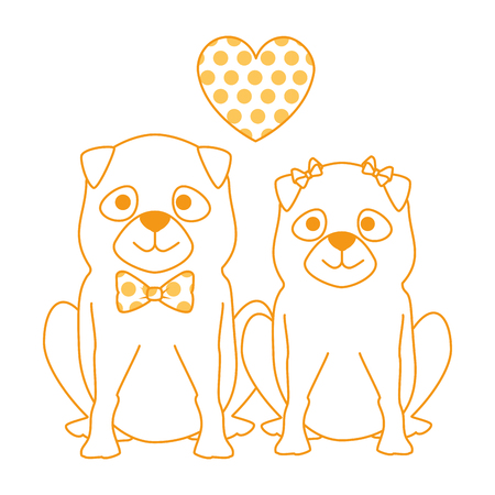 Cute dogs couple lovers with hearts characters vector illustration design. Stock Vector - 99691394