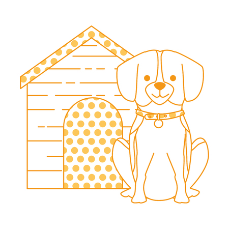 cute dog breed with wooden house character vector illustration design Stock Photo