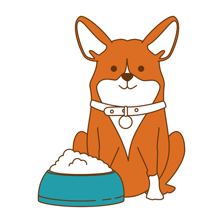 cute dog breed with dish food character vector illustration design