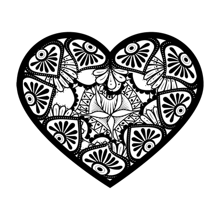 monochrome mandala with heart shape vector illustration design
