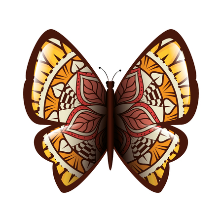 colorful butterfly flying with mandala pattern vector illustration design Banco de Imagens - 99554136